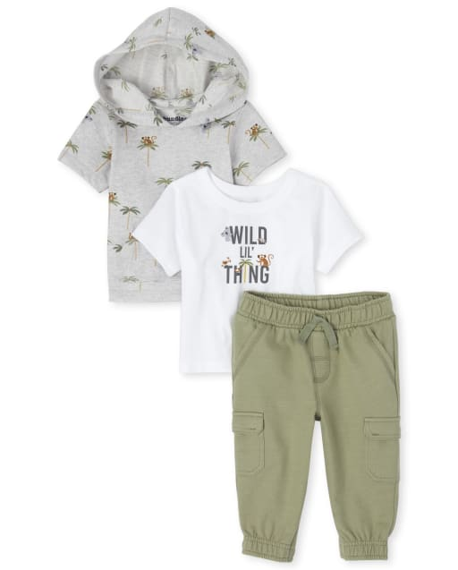 Baby Boys Short Sleeve 'Wild Lil' Thing' Graphic Top Short Sleeve Jungle Print Hooded Top And French Terry Cargo Jogger Pants 3-Piece Playwear Set