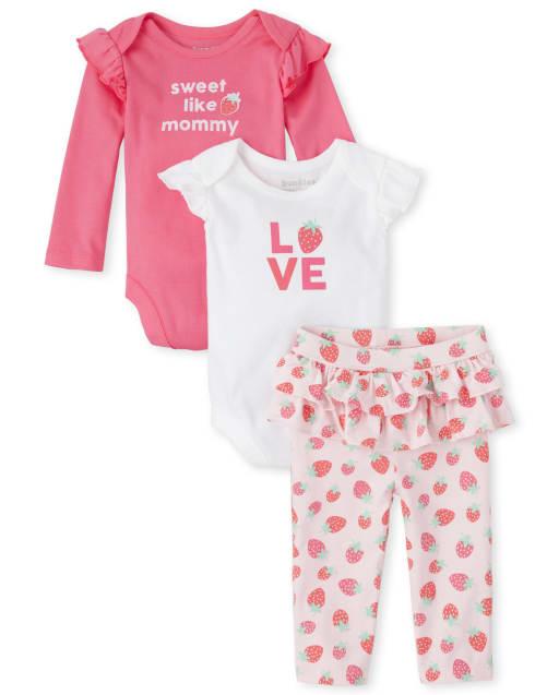 Baby Girls Long Ruffle Sleeve 'Sweet Like Mommy' Bodysuit Short Ruffle Sleeve 'Love' Bodysuit And Strawberry Print Tutu Ruffle Leggings 3-Piece Playwear Set