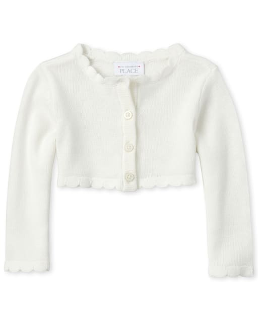 Baby Girls Easter Long Sleeve Scalloped Cardigan