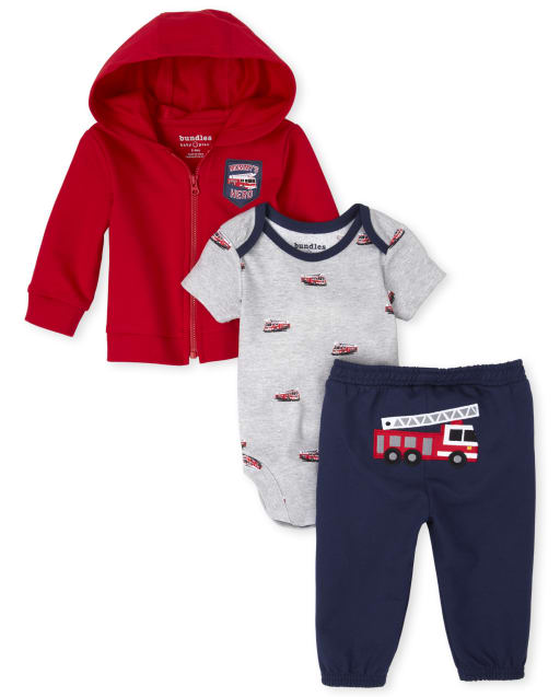 Baby Boys Short Sleeve Fire Truck Print Graphic Bodysuit Long Sleeve 'Mommy's Hero' French Terry Zip Up Hoodie And Embroidered Fire Truck French Terry Pants 3-Piece Playwear Set