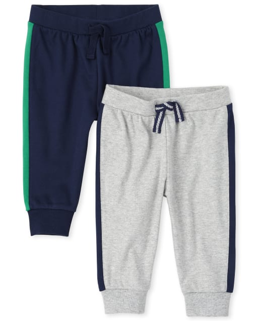 Baby Boys Side Stripe Knit Jogger Pants 2-Pack