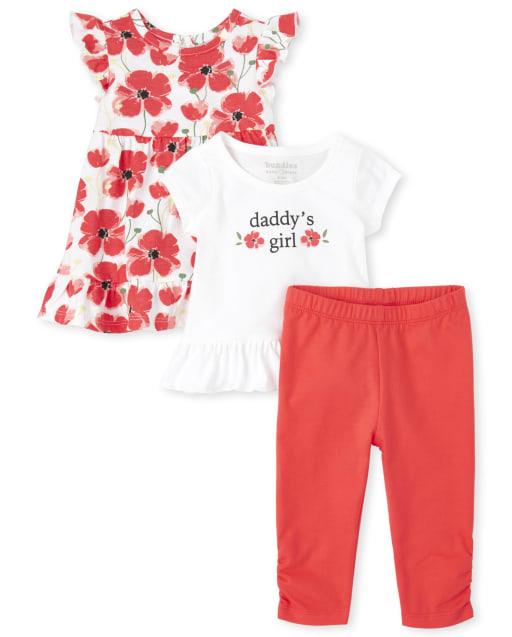 Baby Girls Short Flutter Sleeve Floral Print Dress Short Sleeve 'Daddy's Girl' Floral Peplum Top And Leggings 3-Piece Playwear Set