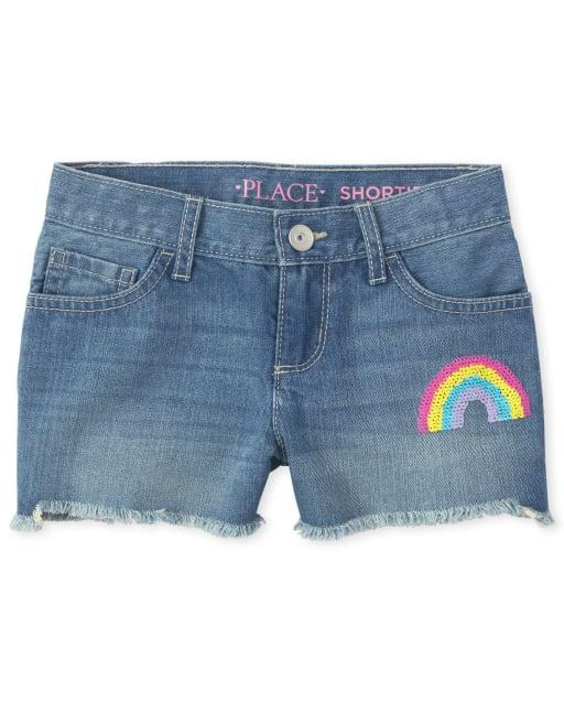 Girls Sequin Rainbow Frayed Hem Denim Shortie Shorts
