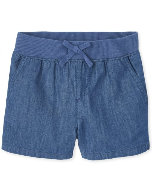 Girls Denim Matching Pull On Shorts