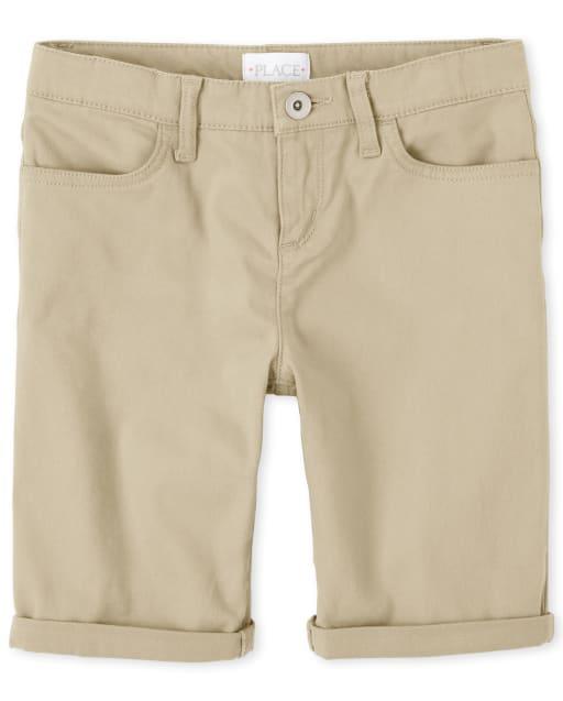 Girls Roll Cuff Woven Skimmer Shorts
