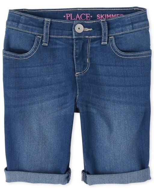 Shorts skimmer de denim con mangas enrolladas para niñas