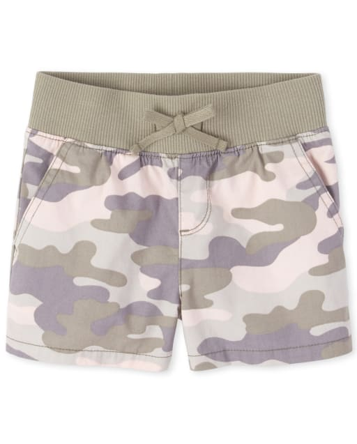 Girls Camo Knit Waistband Woven Pull On Shorts