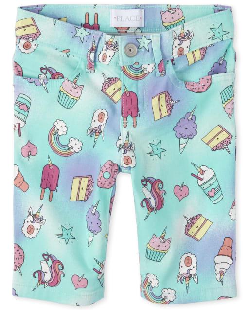 Girls Rainbow Unicorn Print Denim Skimmer Shorts