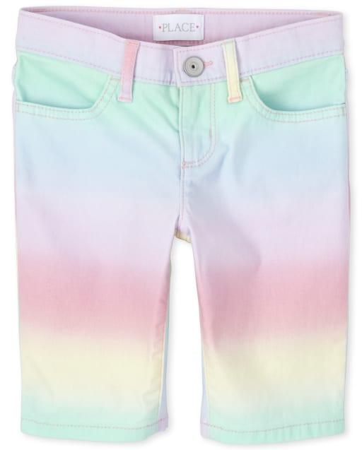 Girls Rainbow Ombre Denim Skimmer Shorts