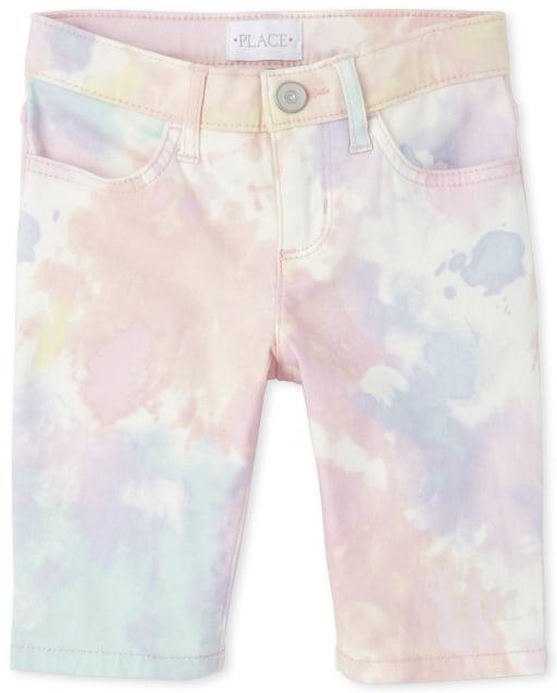 Shorts skimmer de mezclilla tie dye para niñas
