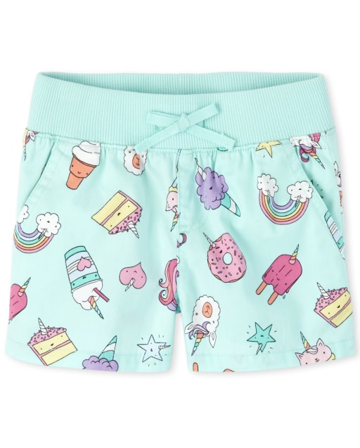 Girls Unicorn Dessert Print Knit Waistband Woven Pull On Shorts