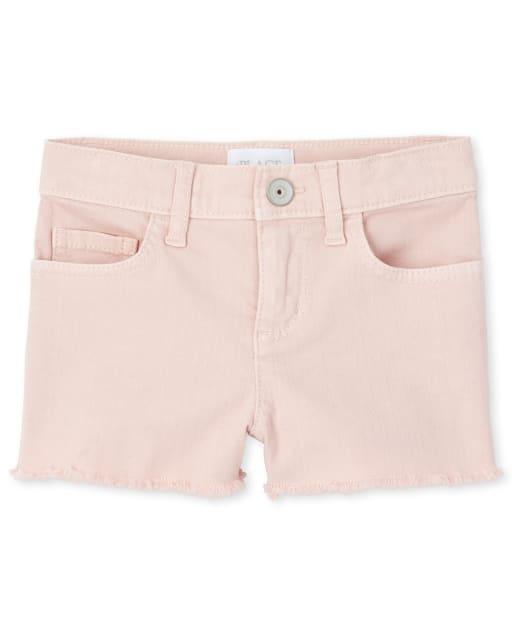 Girls Frayed Hem Denim Shortie Shorts