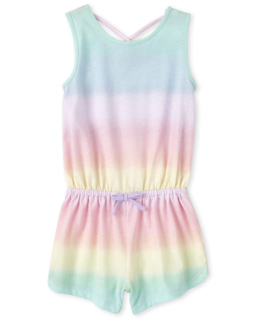 Baby And Toddler Girls Sleeveless Rainbow Ombre Print Knit Romper
