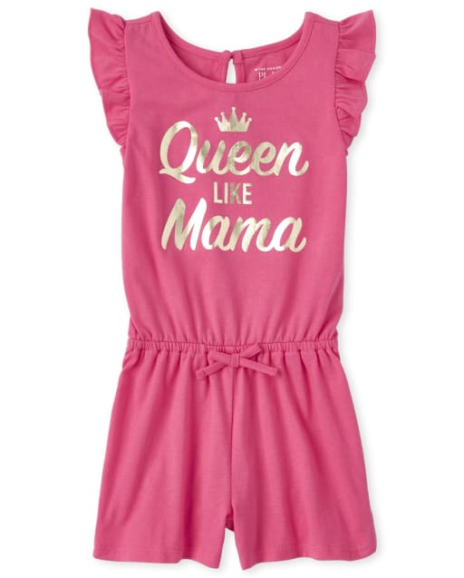 Baby And Toddler Girls Short Ruffle Sleeve Foil 'Queen Like Mama' Knit Romper