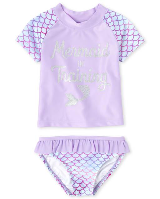Baby And Toddler Girls Short Raglan Sleeve Glitter 'Mermaid In Training' Rashguard Swimsuit