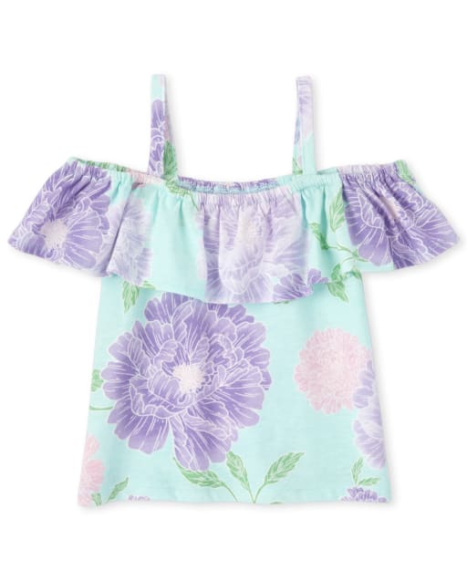 Baby And Toddler Girls Mix And Match Short Sleeve Print Off Shoulder Top