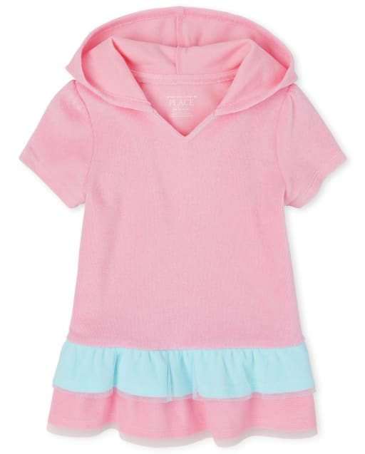 Baby And Toddler Girls Short Sleeve Hooded Peplum Cover Up