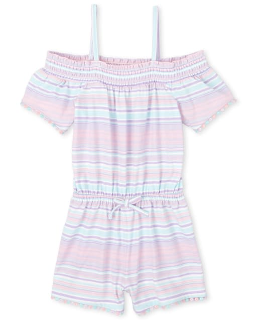 Baby And Toddler Girls Short Sleeve Striped Knit Off Shoulder Romper