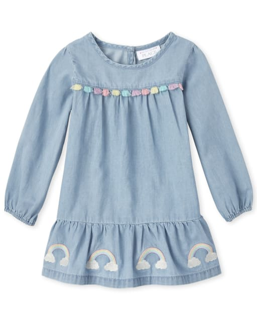 Baby And Toddler Girls Long Sleeve Embroidered Rainbow Chambray Dress