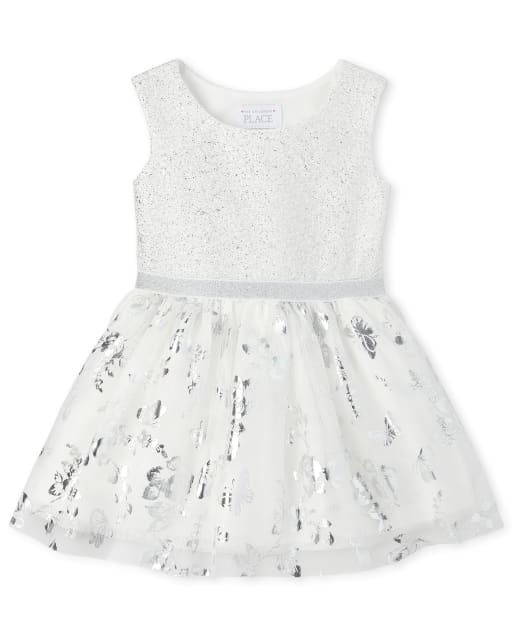 Baby And Toddler Girls Easter Sleeveless Foil Print Jacquard Knit To Woven Matching Tutu Dress