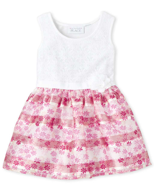 Toddler Girls Easter Sleeveless Lace And Floral Print Matching Knit To Woven Dress