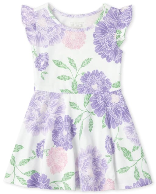 Baby And Toddler Girls Short Ruffle Sleeve Floral Print Knit Dress