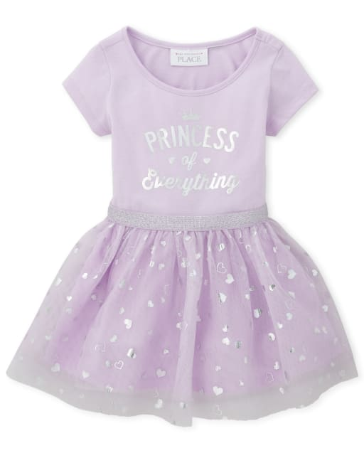 Baby And Toddler Girls Short Sleeve Foil 'Princess Of Everything' Knit To Woven Tutu Dress