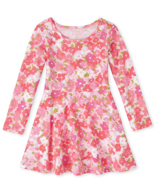 Baby And Toddler Girls Short Sleeve Floral Print Matching Knit Skater Dress