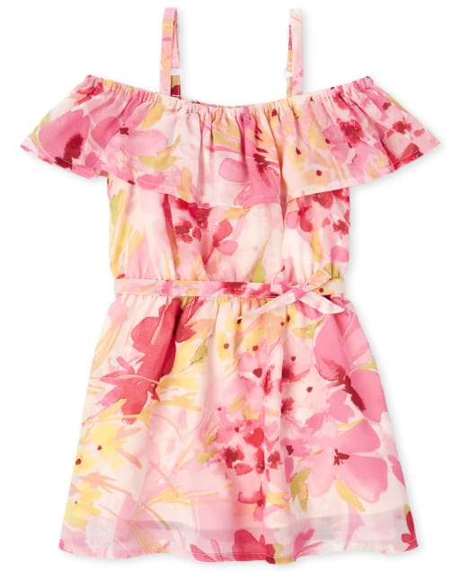 Baby And Toddler Girls Easter Mommy And Me Short Sleeve Floral Print Woven Matching Cold Shoulder Dress