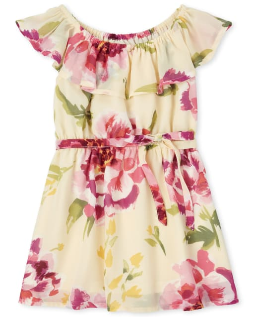 Baby And Toddler Girls Easter Mommy And Me Short Sleeve Floral Print Woven Matching Ruffle Dress