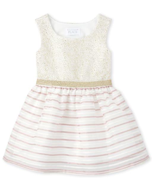 Toddler Girls Easter Sleeveless Metallic Striped Jacquard Matching Knit To Woven Dress