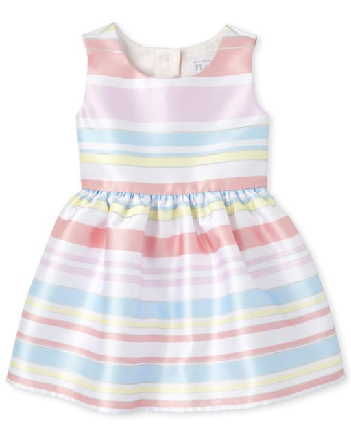 Baby And Toddler Girls Easter Sleeveless Striped Matching Woven Fit And Flare Dress