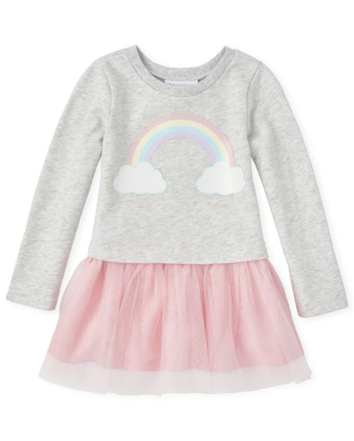 Baby And Toddler Girls Long Sleeve Glitter Rainbow French Terry Knit To Woven Tutu Dress