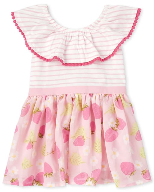 Girls Short Sleeve Striped And Strawberry Print Knit To Woven Dress