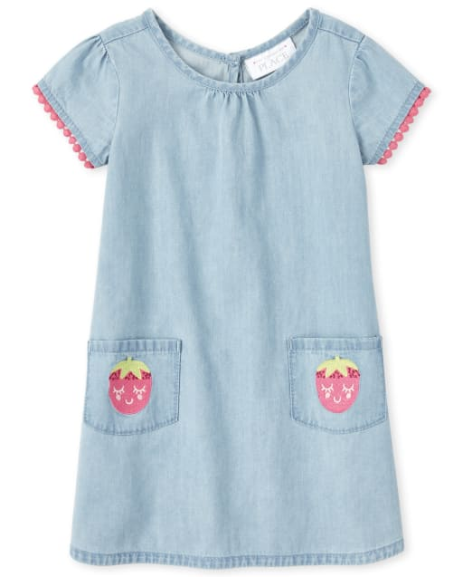 Baby And Toddler Girls Short Sleeve Embroidered Strawberry Crochet Trim Chambray Dress