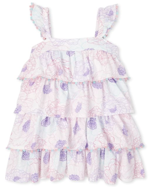 Baby And Toddler Girls Sleeveless Floral Print Knit Tiered Dress