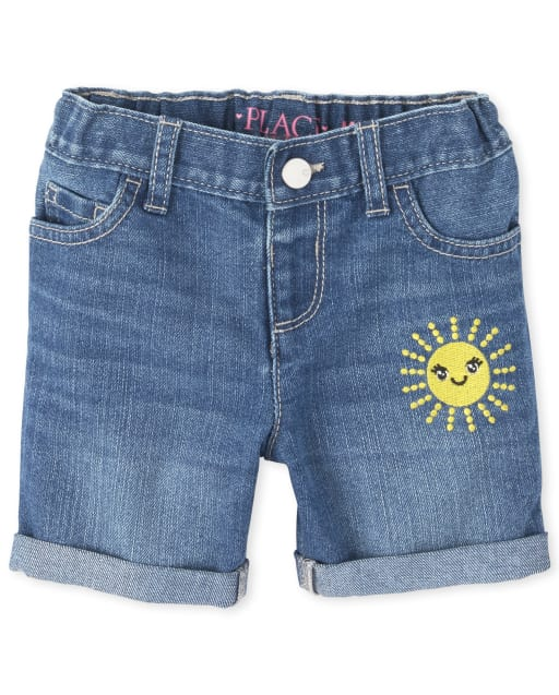 Baby And Toddler Girls Embroidered Sun Roll Cuff Denim Midi Shorts