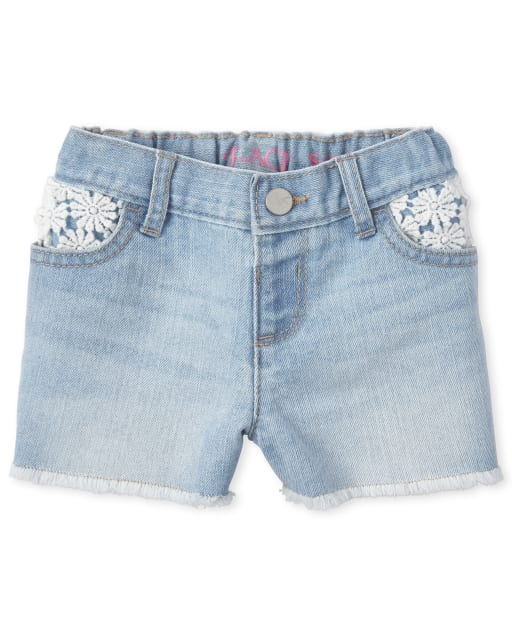 Baby And Toddler Girls Crochet Denim Shortie Shorts