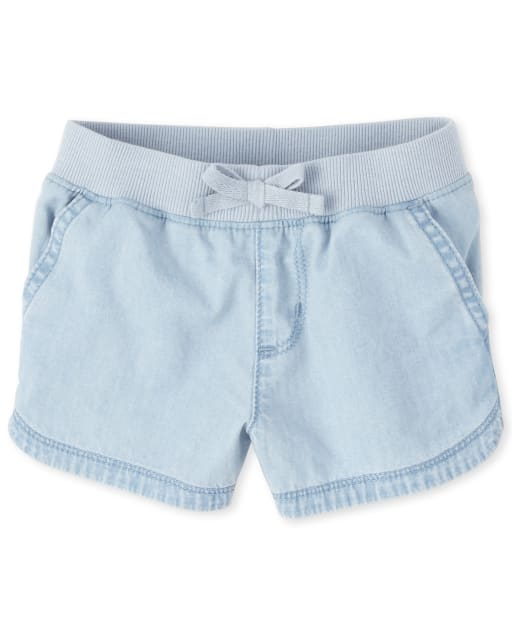 Baby And Toddler Girls Pull On Matching Denim Shorts