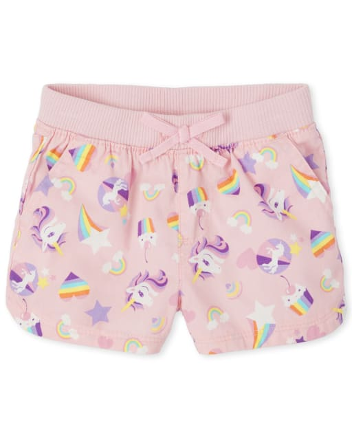 Baby And Toddler Girls Rainbow Unicorn Woven Pull On Shorts