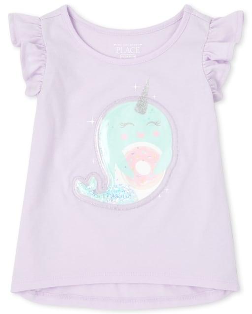Top corto con volantes con confeti y confeti con mangas cortas y aleteo de bebés y niñas pequeñas