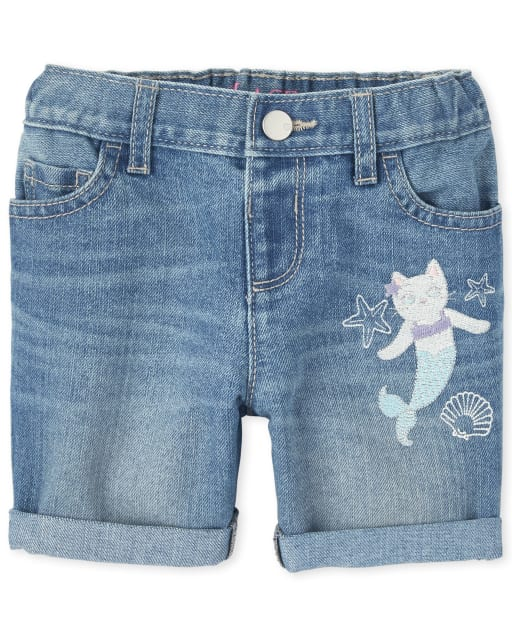 Baby And Toddler Girls Embroidered Mermaid Cat Roll Cuff Denim Midi Shorts