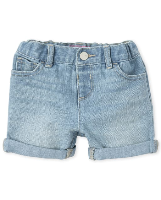 Baby And Toddler Girls Roll Cuff Denim Midi Shorts
