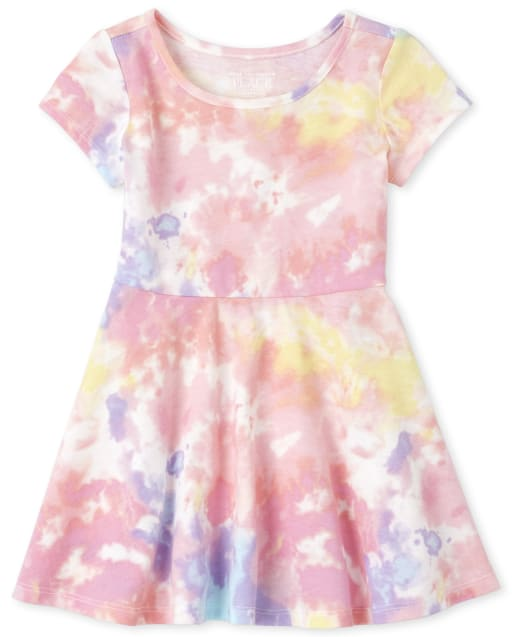 Baby And Toddler Girls Short Sleeve Print Knit Matching Skater Dress