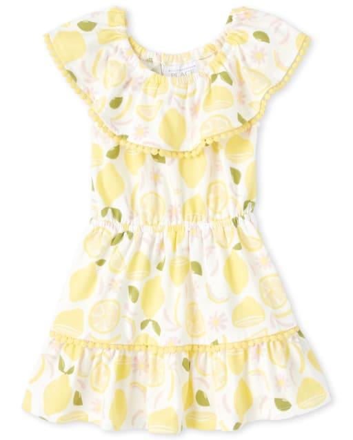 Baby And Toddler Girls Short Sleeve Lemon and Flower Print Crochet Trim Ruffle Dress