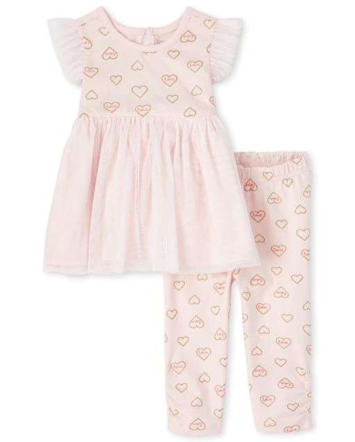 Baby Girls Short Ruffle Sleeve Glitter 'Love' Heart Print Tutu Dress And 'Love' Heart Print Leggings 2-Piece Playwear Set