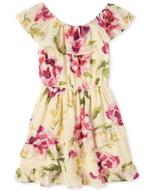 Girls Easter Mommy And Me Short Sleeve Floral Print Woven Matching Ruffle Dress