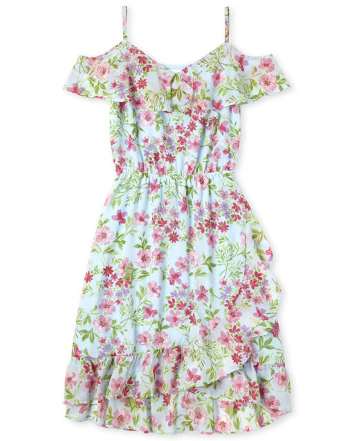 Womens Easter Mommy And Me Short Sleeve Floral Print Woven Matching Cold Shoulder Dress