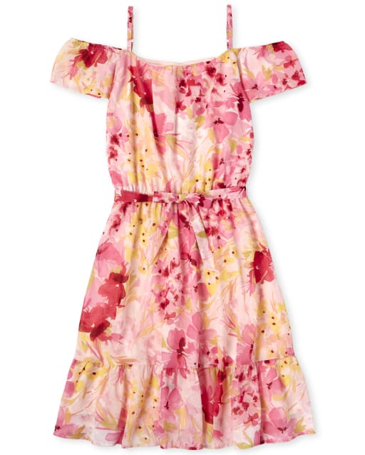 Womens Easter Mommy And Me Short Sleeve Floral Print Woven Matching Off Shoulder Dress