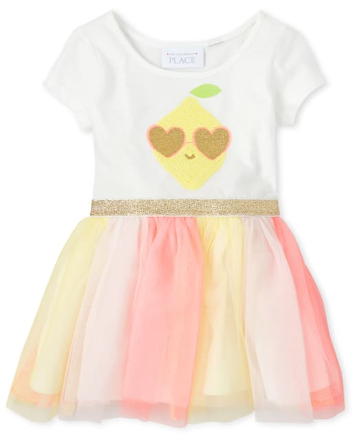 Baby And Toddler Girls Short Sleeve Glitter And Sequin Lemon Knit To Woven Tutu Dress